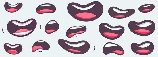 bocas engraçadas de desenho animado com diferentes expressões vetor