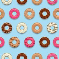 conjunto de rosquinhas saborosas coloridas sem costura padrão de fundo ilustração vetorial vetor
