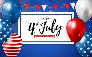 4 de julho dia da independência no fundo dos EUA. pode ser usado como banner ou pôster vetor