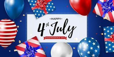 4 de julho, dia da independência no plano de fundo dos EUA. pode ser usado como banner ou pôster. vetor