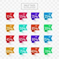 Tags de venda conjunto coleção design colorido vetor