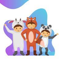 Crianças planas em ilustração vetorial de fantasia animal coleção vetor