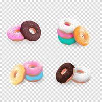 realista 3d fundo doce saboroso donut vetor