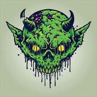 ilustrações de zumbi cabeça de crânio verde diabo vetor