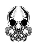 projeto de máscara de gás de crânio isolado vetor