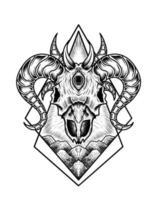 ilustração design de crânio de cabra assustador vetor