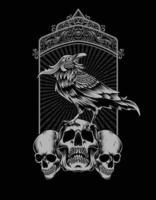 pássaro corvo com cabeça de caveira vintage vetor