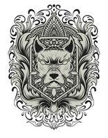 cabeça de cachorro com gravura enfeite vetor
