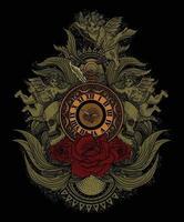 relógio vintage com gravura ornamento ilustração design de camiseta vetor
