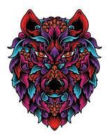 estilo de ornamento de cabeça de lobo isolado vetor