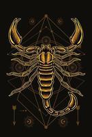 ilustração de escorpião com desenho vetorial preto vetor