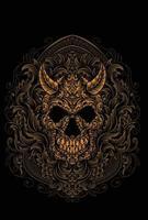 ilustração do crânio do demônio com gravura do estilo do ornamento vetor