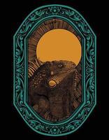 desenho de estilo ornamento de gravura de iguana vetor