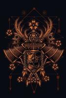 ilustração desenho vetorial cabeça de samurai vetor