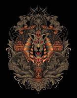 ilustração de cabeça de anúbis com ornamento de gravura vetor