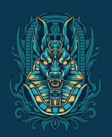 ilustração de desenho vetorial egípcio anubis vetor