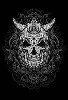ilustração design de camiseta com caveira de viking vetor