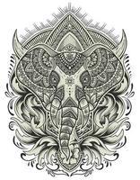 mandala cabeça de elefante com gravura ornamento vetor