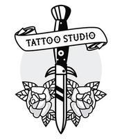 punhal com rosas e gráfico de estúdio de tatuagem de fita vetor