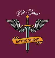 gráfico de estúdio de tatuagem de punhal com asas vetor
