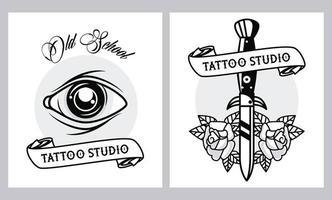 Eye Human e Dagger Tattoos Studio Graphics vetor