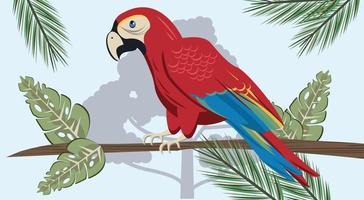 pássaro papagaio tropical selvagem na cena da selva vetor