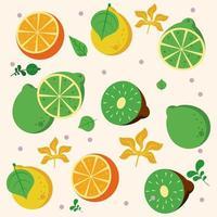 frutas locais frescas com padrão de laranjas e kiwis vetor