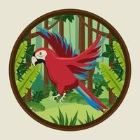 pássaro papagaio tropical selvagem voando na moldura circular da selva vetor