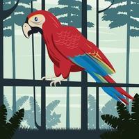 animal selvagem papagaio tropical no cenário da selva vetor