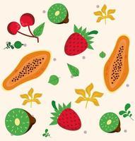 frutas locais frescas com morangos e padrão de frutas vetor