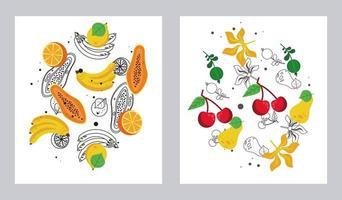 frutas locais frescas com um conjunto de padrões em fundo branco vetor