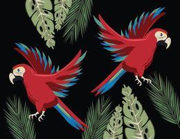 tropicais selvagens papagaios pássaros animais no cenário da selva vetor