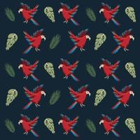 pássaros de papagaio tropical selvagem e folhas de fundo padrão vetor