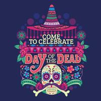 Dia do crânio de açúcar morto para celebração mexicana vetor