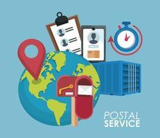 caixa de correio com conjunto de ícones de entrega no planeta Terra vetor