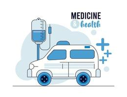 ambulância com ícones de saúde bolsa de sangue vetor