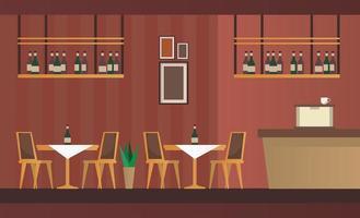 mesas e cadeiras elegantes com cena de mobília de bar e restaurante vetor