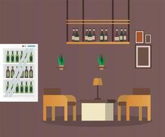 mesa e cadeiras elegantes com garrafas de vinho cena de mobília de restaurante vetor
