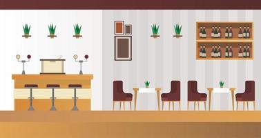 mesas e cadeiras elegantes com bar no cenário de restaurantes vetor