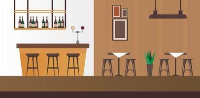 mesas e cadeiras elegantes com cena de bar restaurante vetor
