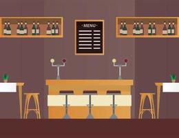 mesas e cadeiras com bar em cena de mobília de restaurante vetor