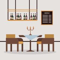 mesa e cadeiras elegantes com lustre de restaurante vetor