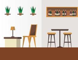 mesas e cadeiras elegantes com vinho na prateleira do restaurante vetor