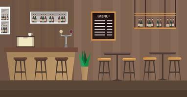 mesas e cadeiras com cena de bar restaurante vetor