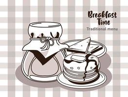 Cartaz de letras na hora do café da manhã com mel e panquecas vetor
