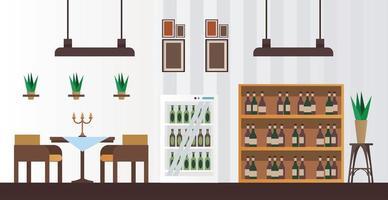 mesa e cadeiras elegantes com garrafas de vinho em prateleiras de restaurante vetor