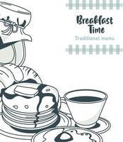 pôster de letras na hora do café da manhã com ingredientes definidos vetor