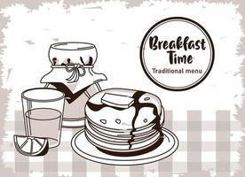 Letras de hora do café da manhã em cartaz de moldura circular com suco de laranja e panquecas vetor