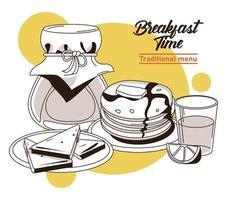 Cartaz de letras na hora do café da manhã com sanduíches e ingredientes vetor