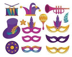 pacote de ícones de celebração da festa de carnaval de mardi gras vetor